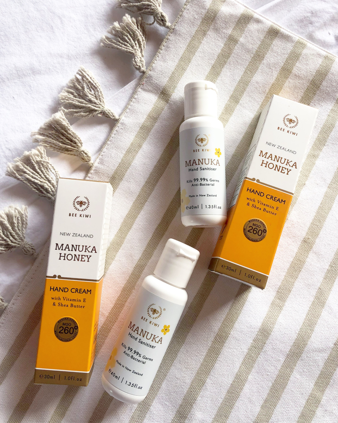 Manuka Honey Skin Care NZ Products; Hand Cream, Manuka Sanitiser | Bee Kiwi